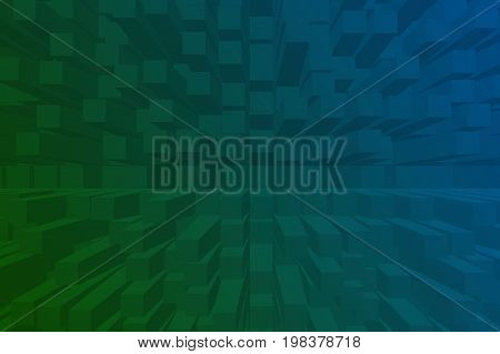Digital 3D Cubes Box Effect Abstract Background. Dark Blue And Green Box 3D Or Rectangular Prism Abs