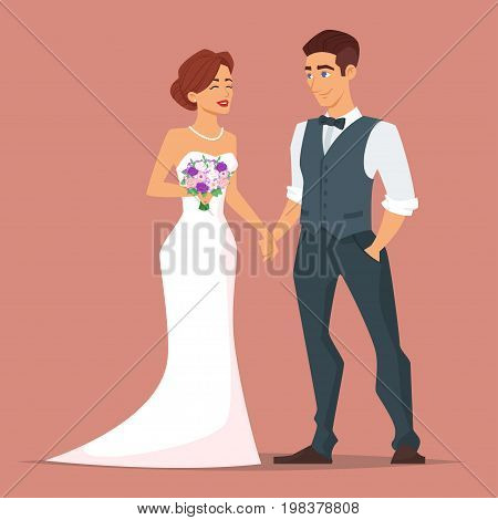 Vector cartoon style illustration of characters man and woman. Young happy newlyweds bride and groom. Just married couple.