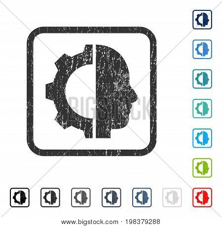 Cyborg Gear rubber watermark in some color versions.. Vector icon symbol inside rounded rectangular frame with grunge design and unclean texture. Stamp seal illustration, unclean emblem.