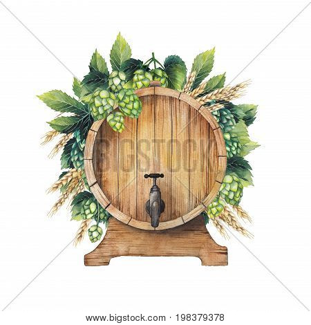 Watercolor barrel of beer decorated with hops and malt. Hand painted oktoberfest design isolated on white background