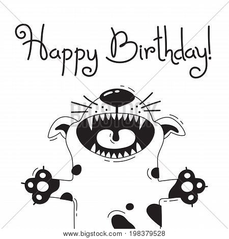 Illustration with joyful dog who says - Happy Birthday. For design of funny avatars, welcome posters and cards. Cute animal in vector.