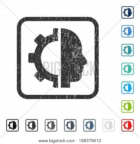 Cyborg Gear rubber watermark in some color versions.. Vector pictogram symbol inside rounded rectangle with grunge design and dust texture. Stamp seal illustration, unclean sign.