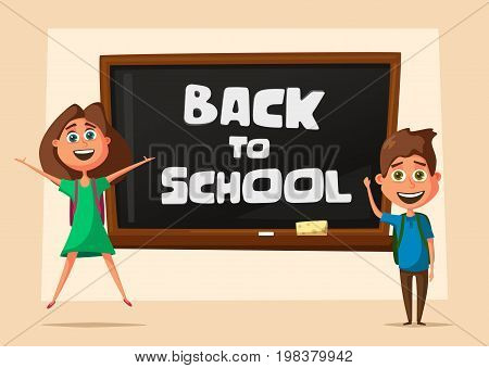 School classroom. Children and chalkboard. Cartoon vector illustration. Kids in the classroom. Back to school. For posters and banners
