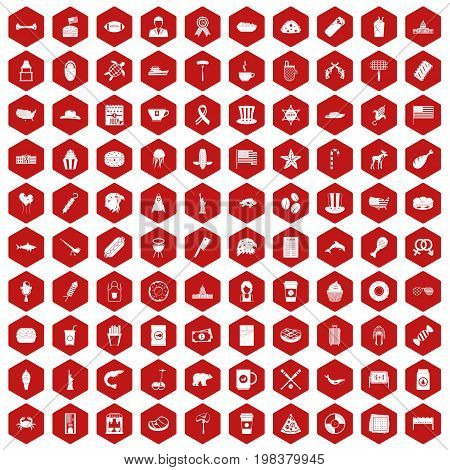 100 USA icons set in red hexagon isolated vector illustration