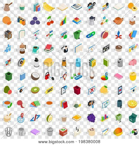100 office supplies icons set in isometric 3d style for any design vector illustration