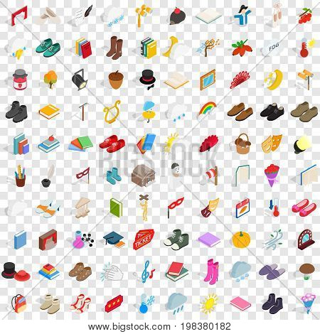 100 old icons set in isometric 3d style for any design vector illustration