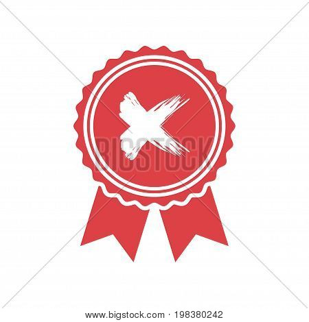 Red rejected or certified medal icon in a flat design
