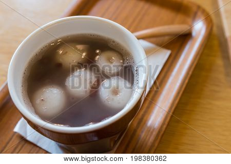 mochi in the hot red bean soup Japanese famous local food