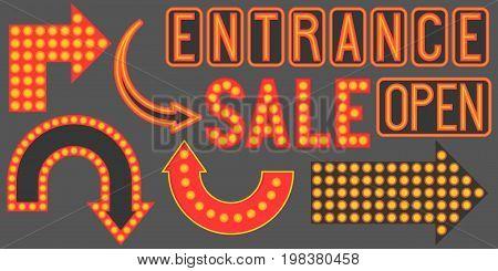 Retro neon sign such as arrow, open, entrance sign, sale, flat design without mesh, gradient