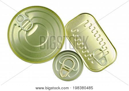 Close-up view of various tins and cans isolated on white background