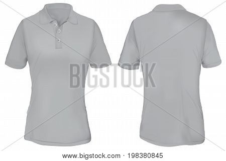Gray Polo Shirt Template for Woman Isolated on White