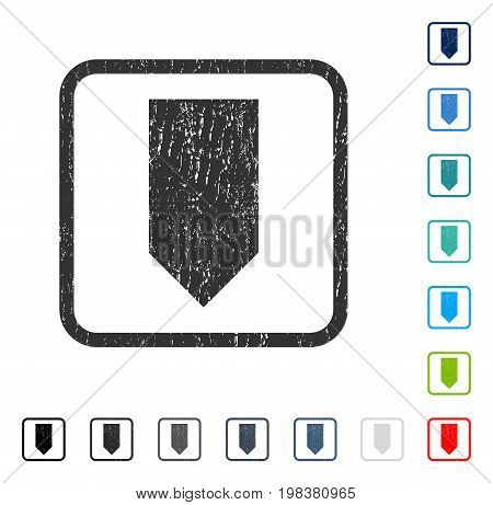 Direction Down rubber watermark in some color versions.. Vector pictogram symbol inside rounded rectangle with grunge design and scratched texture. Stamp seal illustration, unclean sign.