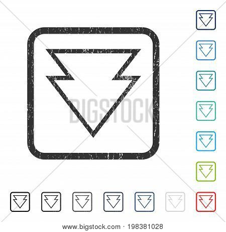 Direction Down rubber watermark in some color versions.. Vector pictogram symbol inside rounded rectangle with grunge design and scratched texture. Stamp seal illustration, unclean sticker.