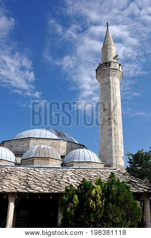 Mosque with minaret tower in Mostar, Bosnia and Herzegovina