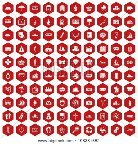100 wealth icons set in red hexagon isolated vector illustration