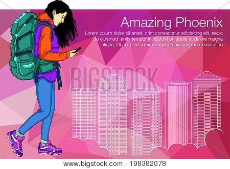 Walking Girl in Phoenix City and Holding Smartphone. Girl tourist looking in the phone