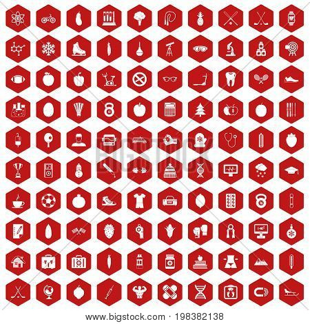 100 well person icons set in red hexagon isolated vector illustration