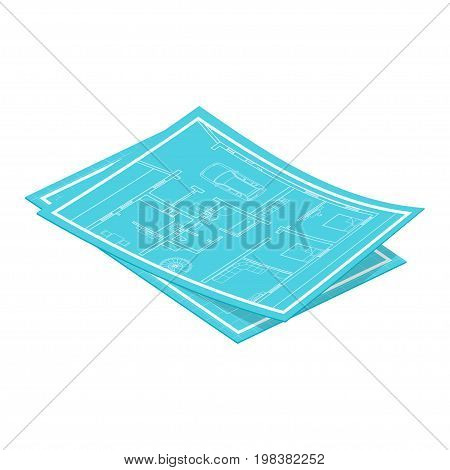 Vector isometric blueprints. Isolated on white background.