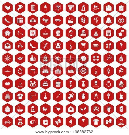 100 woman happy icons set in red hexagon isolated vector illustration