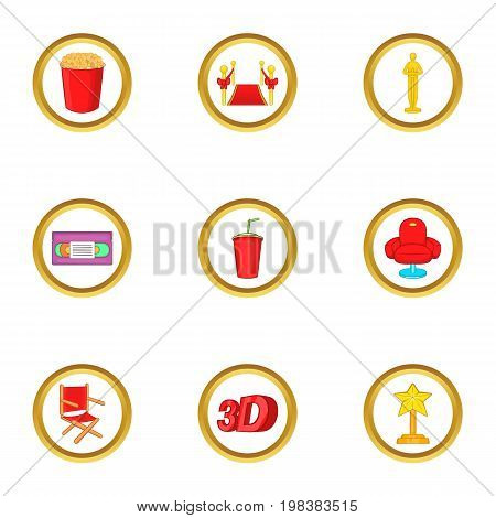 Cinema club icons set. Cartoon set of 9 cinema club vector icons for web isolated on white background