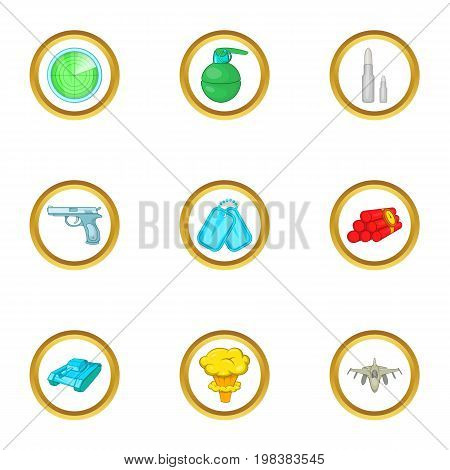 Arsenal icons set. Cartoon set of 9 arsenal vector icons for web isolated on white background
