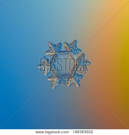 Real snowflake macro photo: small star plate snow crystal with six short, glossy arms and large, flat and empty central hexagon. Snowflake glittering on smooth blue - orange gradient background.