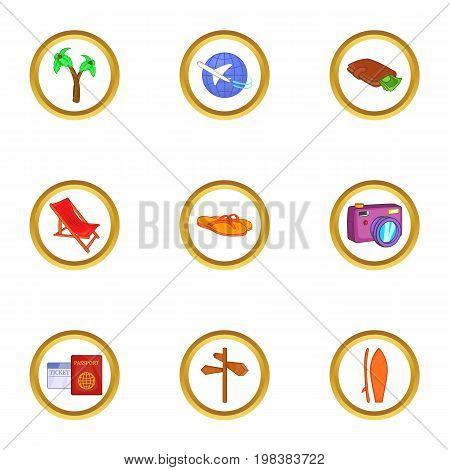 Travel to warm country icons set. Cartoon set of 9 travel to warm country vector icons for web isolated on white background