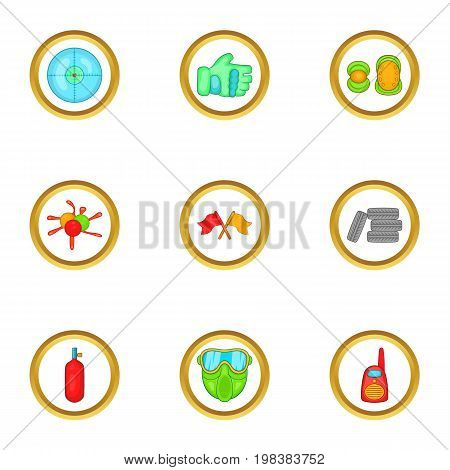 Paintball accessories icons set. Cartoon set of 9 paintball accessories vector icons for web isolated on white background