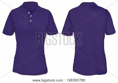Purple Polo Shirt Template for Woman  Isolated on White