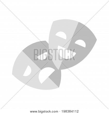 Vector flat style illustration of theater mask. Icon for web. Isolated on blue background.