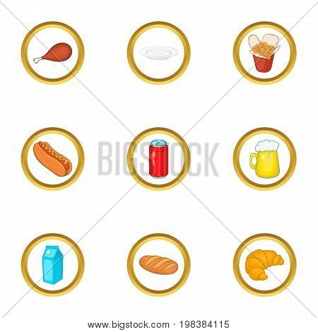 Tasty food icons set. Cartoon set of 9 tasty food vector icons for web isolated on white background