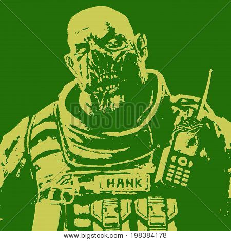 horror fat zombie soldier. green and yellow color. horror character face. vector illustration.