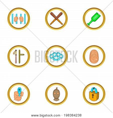 Court evidence icons set. Cartoon set of 9 court evidence vector icons for web isolated on white background