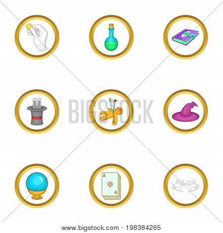 Wizard things icons set. Cartoon set of 9 wizard things vector icons for web isolated on white background
