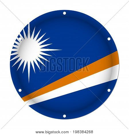 round metallic flag of Marshall Islands with six screw holes in front of a white background