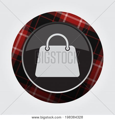 black isolated button with red black and white tartan pattern on the border - light gray shopping bag icon in front of a gray background