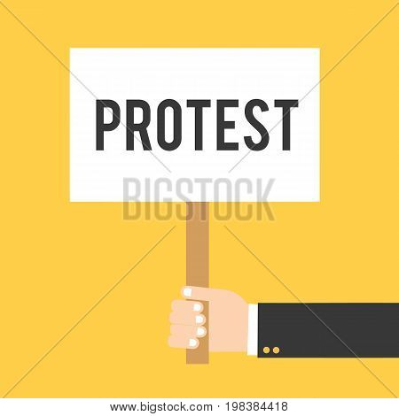 Hand holding placard with protest text. Hand holding signbord. Vector stock.