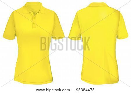 Yellow Polo Shirt Template for Woman  Isolated on White