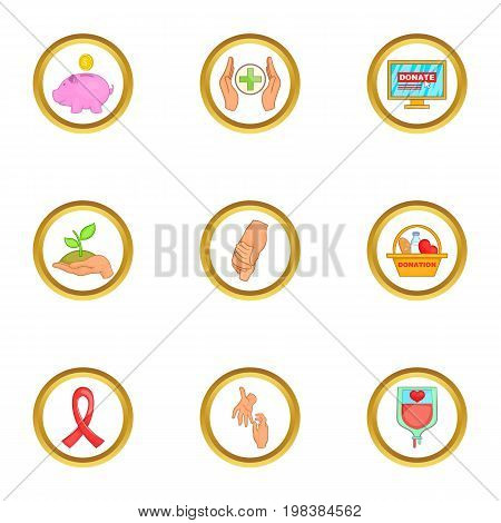 Donor donate icons set. Cartoon set of 9 donor donate vector icons for web isolated on white background