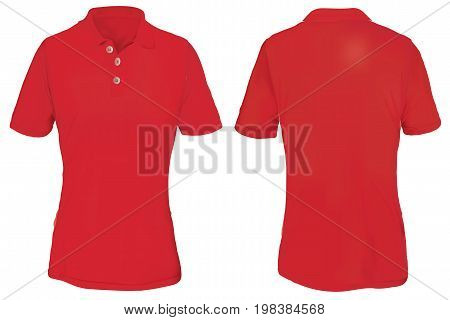 Red Polo Shirt Template for Woman  Isolated on White
