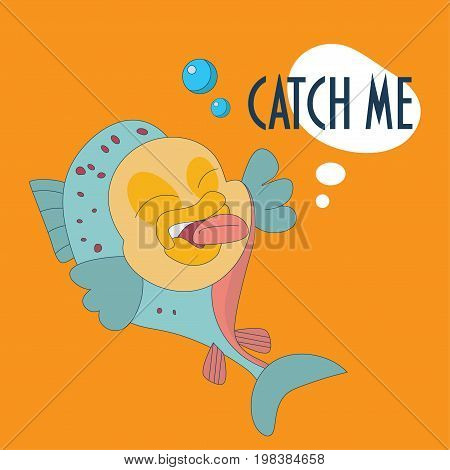 Fishing festival mascot. Trout fish teasing fisher or fisherman. Speech bubble Catch me. Recreational fishing, also called sport fishing or angling promotion vector illustration.
