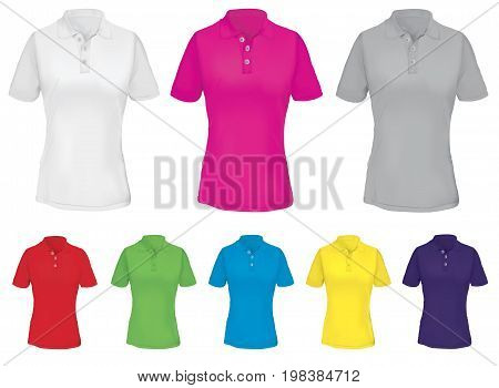 Polo Shirt Template for Woman in Many Colors