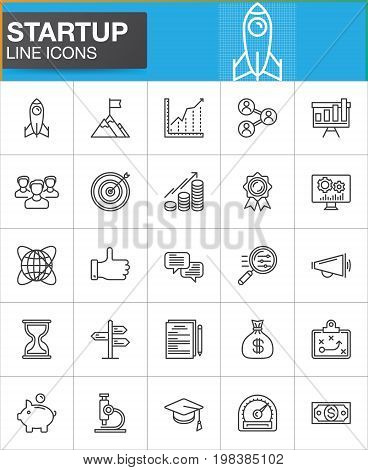 Startup and new business line icons set, outline vector symbol collection, linear style pictogram pack. Signs, logo illustration. Set includes icons as rocket, seo, people, target, goal, money, time