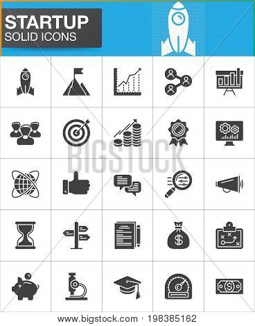 Startup and new business vector icons set, modern solid symbol collection, filled style pictogram pack. Signs, logo illustration. Set includes icons as rocket, seo, people, target, goal, money, time