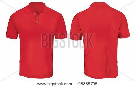 Red Polo Shirt Template Isolated on White