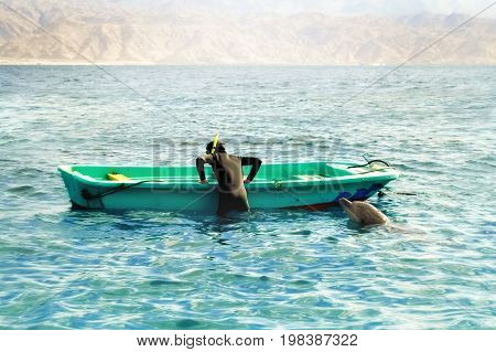 The dolphin plays with a diver near a boat in the Red Sea.