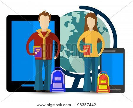 Flat illustration for e-learning and online education with Men and Women. Education infographic