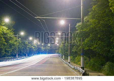 Night motion on urban streets with light