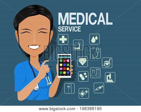 Medical staff show the mobile medical service application in the tablet