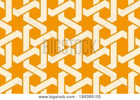 Seamless arabic ornament with entangled orange pattern